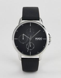 Черные часы с кожаным ремешком HUGO 1530022 Focus - Черный