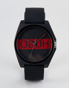 Черные часы с силиконовым ремешком и логотипом на циферблате HUGO 1520015 Play - Черный