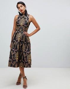Разноцветное жаккардовое приталенное платье миди с открытой спиной Chi Chi London Premium - Мульти