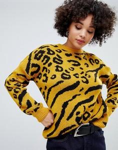 Желтый джемпер с леопардовым узором Missguided - Желтый