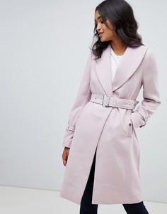 Шерстяное пальто с шалевым воротником Lipsy - Фиолетовый