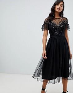 Черное декорированное платье миди Frock And Frill - Черный