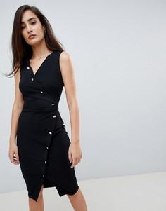 Черное облегающее платье на пуговицах Lipsy - Черный