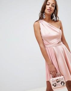 Атласное платье мини со складками ASOS DESIGN - Розовый