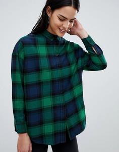 Рубашка бойфренда в зеленую и темно-синюю клетку ASOS DESIGN - Мульти