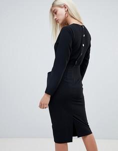 Платье-футляр миди с длинными рукавами и пуговицей на спине ASOS DESIGN - Черный
