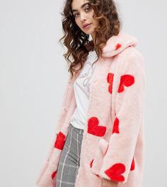 Искусственный полушубок с сердечками Daisy Street - Розовый