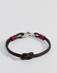 Коричнево-красный кожаный браслет с узлом Ted Baker Ivvry - Красный