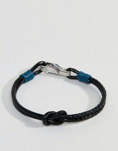 Коричнево-синий кожаный браслет с узлом Ted Baker Ivvry - Синий