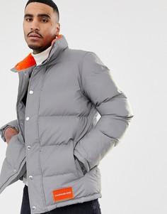 Думая куртка с оранжевым логотипом Calvin Klein Jeans - Серый