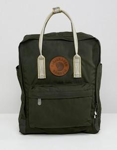 Рюкзак с кожаной нашивкой и контрастными лямками Fjallraven Kanken - 16 л - Зеленый