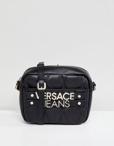 Маленькая стеганая сумка через плечо с логотипом Versace Jeans - Черный