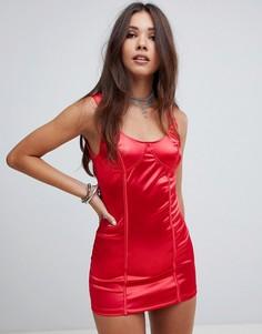 Атласное облегающее платье Motel - Красный