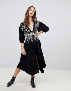 Топ макси с вышивкой Free People Highline Skyline - Черный