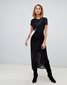 Платье со сборкой AllSaints - Черный