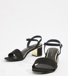 Босоножки на блочном каблуке для широкой стопы New Look - Черный