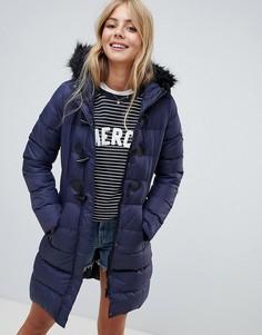 Длинная дутая куртка с отделкой капюшона из искусственного меха Brave Soul - Темно-синий