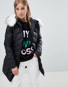Удлиненная дутая куртка с шевронным рисунком Urban Bliss - Черный