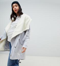 Парка с каскадной драпировкой и подкладкой из искусственного меха ASOS DESIGN Maternity - Серый