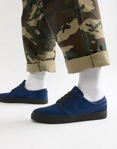 Темно-синие замшевые кроссовки Nike SB Zoom Stefan Janoski 333824-421 - Темно-синий
