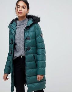 Длинная дутая куртка с отделкой капюшона из искусственного меха Brave Soul - Зеленый