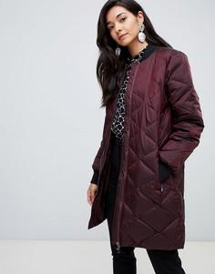 Длинная стеганая дутая куртка Y.A.S - Красный