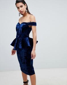 Бархатное платье миди с баской The 8th Sign - Темно-синий
