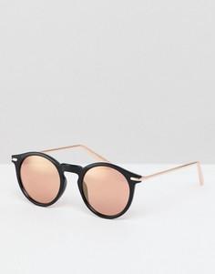 Круглые солнцезащитные очки с зеркальными стеклами ASOS DESIGN - Черный