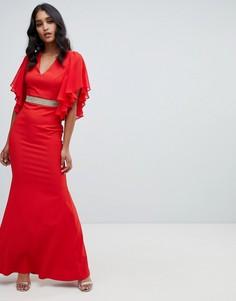Красное декорированное платье макси с оборками на рукавах Lipsy - Красный