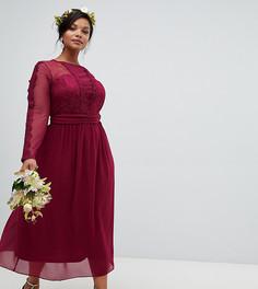 Кружевное платье миди TFNC Plus - Красный