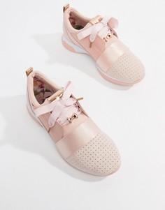 Розовые замшевые кроссовки с ремешком Ted Baker - Розовый