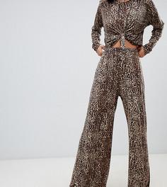 Трикотажные брюки от комплекта с широкими штанинами и леопардовым принтом Milk It Vintage - Черный