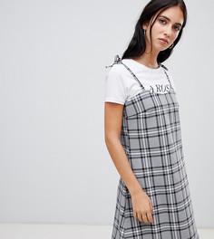Платье-комбинация в клетку Milk It - Серый