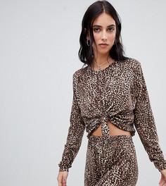Комбинируемая укороченная футболка с леопардовым принтом Milk It - Черный