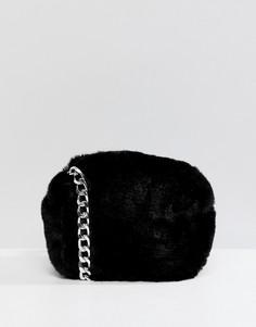 Черная меховая сумка через плечо Pull&Bear - Черный Pull&;Bear