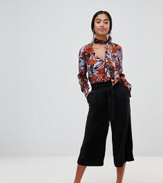Укороченные брюки с поясом New Look Petite - Черный