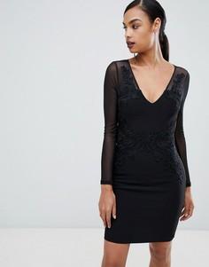 Монохромное кружевное платье миди Lipsy - Мульти