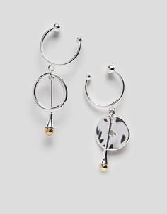 Серьги-кольца с подвесками Finery Matlock - Серебряный