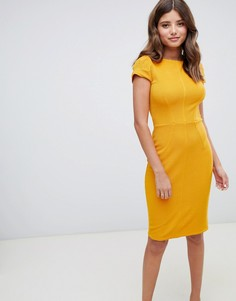 Желтое платье-футляр в рубчик Closet London - Желтый