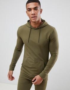 Облегающий худи цвета хаки New Look - Зеленый