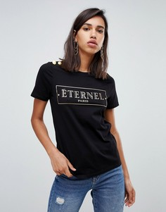 River Island eternal slogan t-shirt with button detail in black - Черный