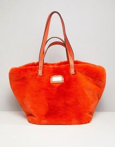 Оранжевая меховая сумка-шоппер River Island - Оранжевый