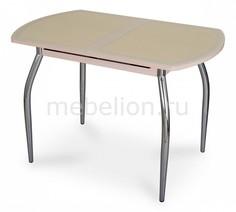 Стол обеденный Чинзано ПО со стеклом и экокожей Домотека