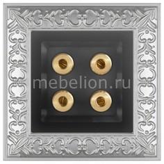 Розетка акустические Antik (Черный матовый) WL08-70-11+WL08-AUDIOx4 Werkel