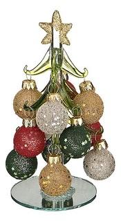 Ель новогодняя с елочными шарами (15 см) ART 594-098