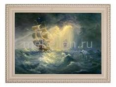 Панно (70х50 см) Корабль шторм 1722118 Ekoramka