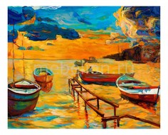 Панно (50х40 см) Лодки 1751008 Ekoramka