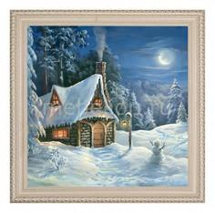Панно (50х50 см) Дом в зимнем лесу 1722125 Ekoramka