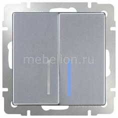 Выключатель проходной двухклавишный с подсветкой без рамки Серебряный WL06-SW-2G-2W-LED Werkel