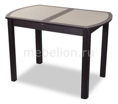 Стол обеденный Гамма ПО со стеклом и экокожей Домотека